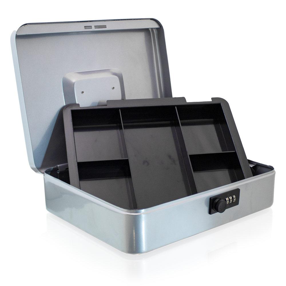 Geldkassette-30-cm-gross-flach-abschliessbar-Muenz-Geld-Zaehlbrett-Kasse-blau-rot